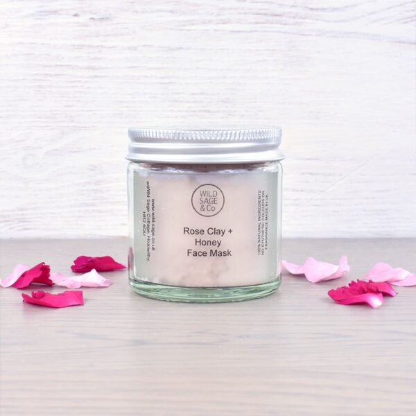 Wild Sage & Co Rose Clay & Honey Cleansing Face Mask and Flowers