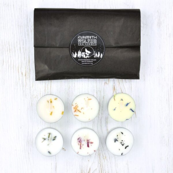 Run With Wolves Scented Soy Wax Tealights With Packaging