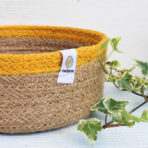 ReSpiin Small Yellow Jute Basket Close Up