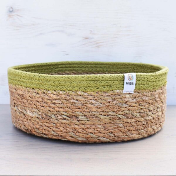 ReSpiin Green Seagrass & Jute Storage Basket