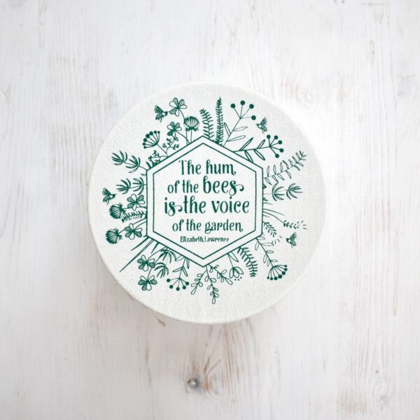 Your Green Kitchen Small Cotton Bowl Cover Green Bee Print