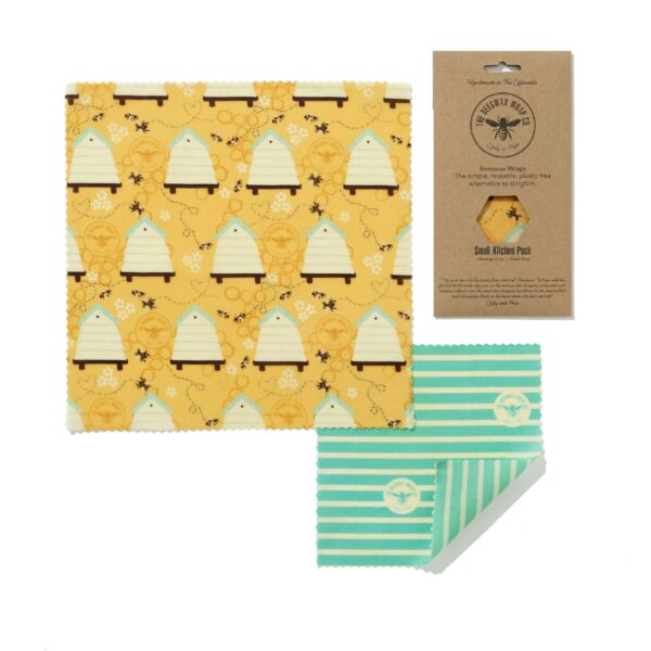The Beeswax Wrap Co Beeswax Wraps Small Kitchen Pack Beehive Print