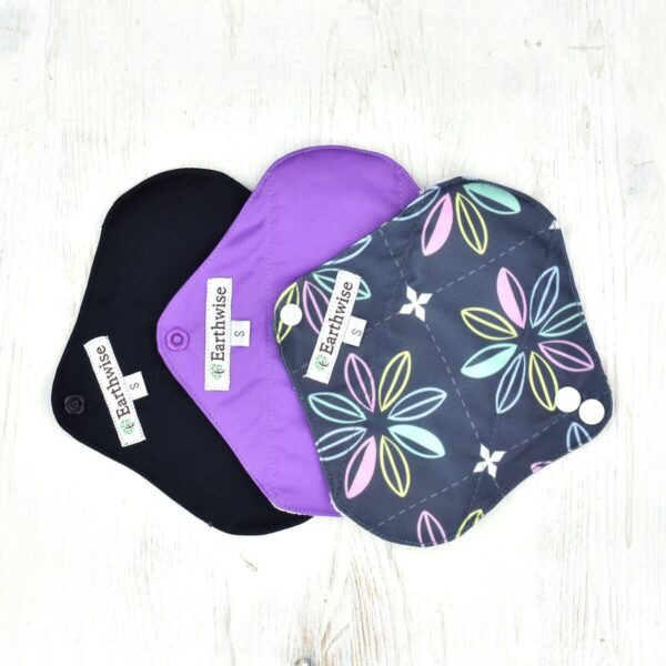 Earth Wise Girls Small Reusable Sanitary Pad 3 pack, purple, charcoal, PUL backing layer,