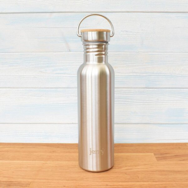 Jerry Brushed Steel Stainless Steel Bottle With Bambo Lid