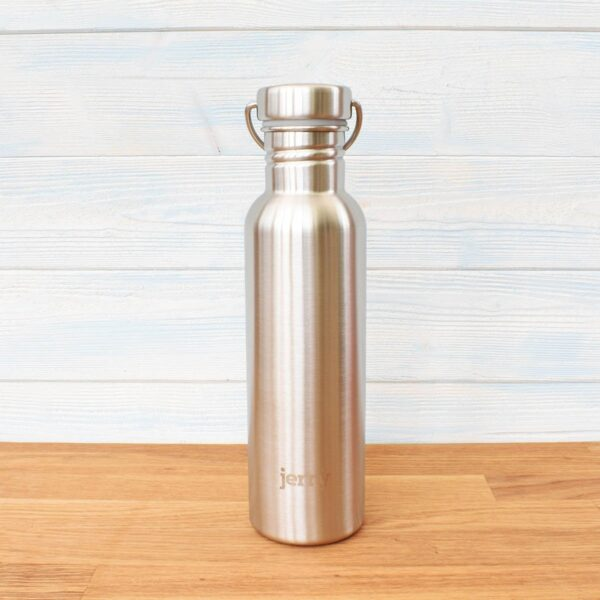 Jerry Brushed Steel Stainless Steel Bottle With Metal Lid