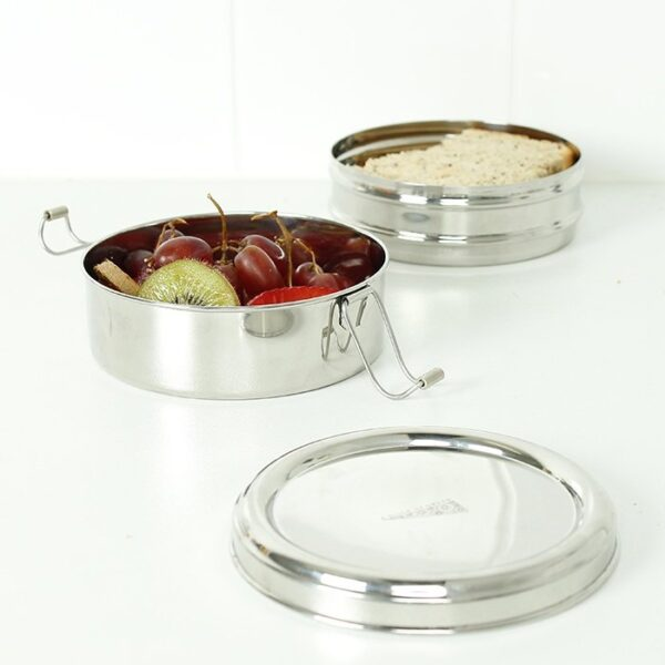 A Slice of Green Round Stainless Steel Lunch Box With Separate Tiers