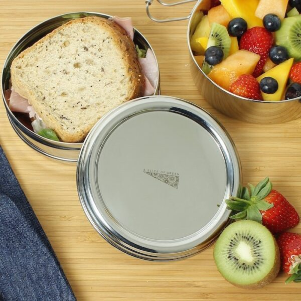 A Slice of Green 2 Tier Round Stainless Steel Lunch Box Top View With Food Inside
