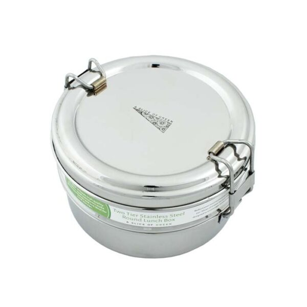 A Slice of Green 2 Tier Round Stainless Steel Lunch Box