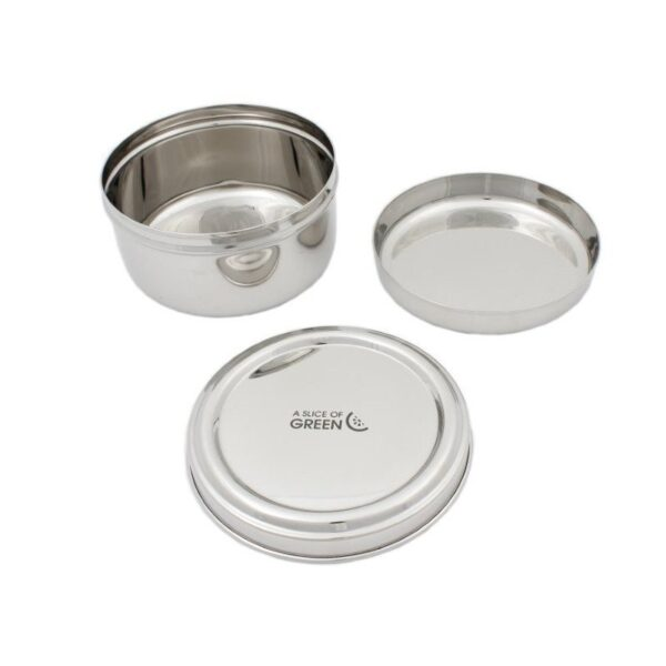 A Slice of Green Stainless Steel Round Food Container Open With Divider