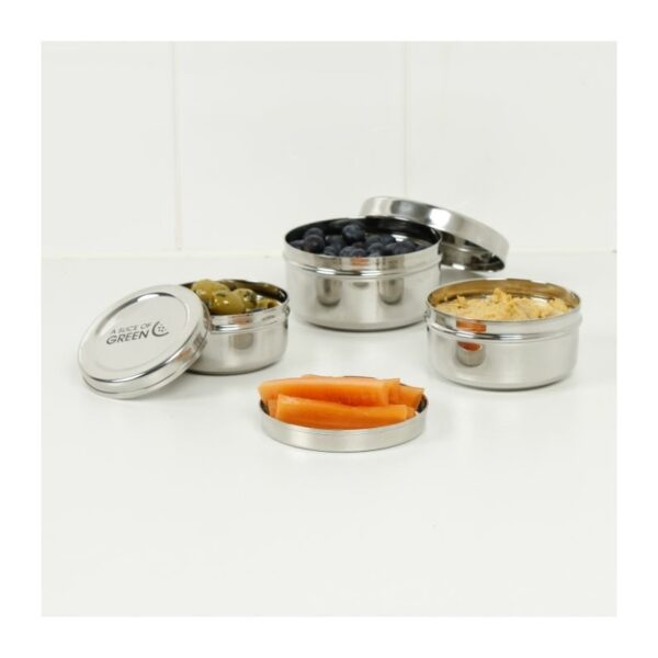 A Slice of Green Set Of 3 Stainless Steel Round Mini Food Containers Open With Divider