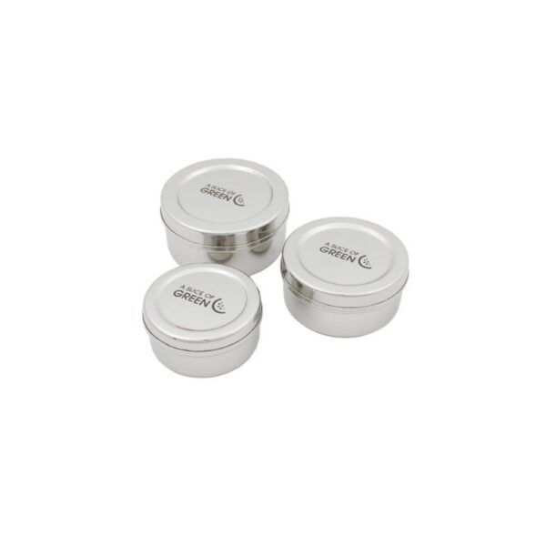 A Slice of Green Set Of 3 Stainless Steel Round Mini Food Containers
