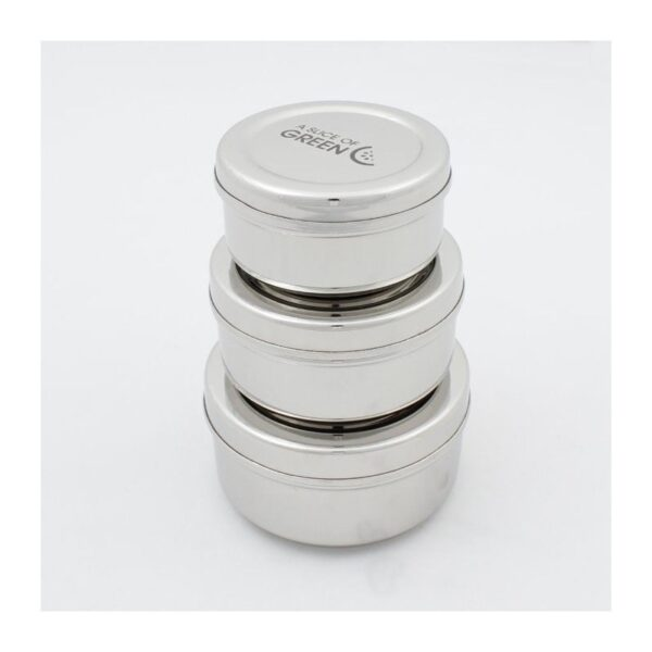 A Slice of Green Set Of 3 Stainless Steel Round Mini Food Containers Stacked