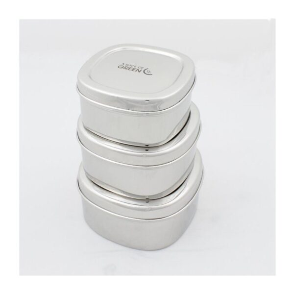 A Slice of Green Set Of 3 Stainless Steel Square Food Containers Stacked Up