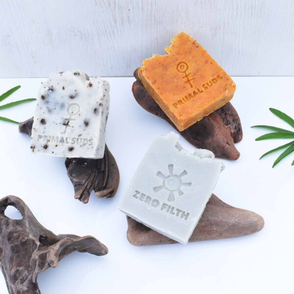4 driftwood soap stumps , sud stump collection with soap