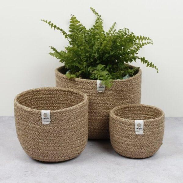 ReSpiin Tall Natural Jute Basket Set