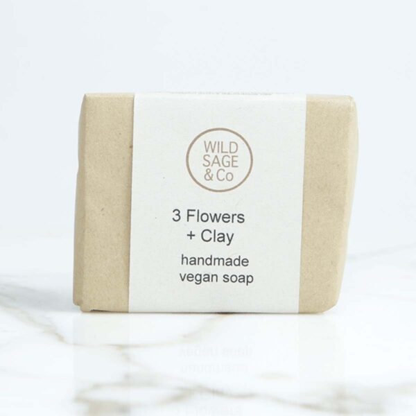 wild sage & co three flowers and clay Soap Bar packaging