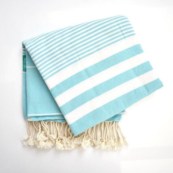 Ebb Flow Cornwall Turquoise Turkish Towel Quick Dry Chappie Hammam Towel Unfolded