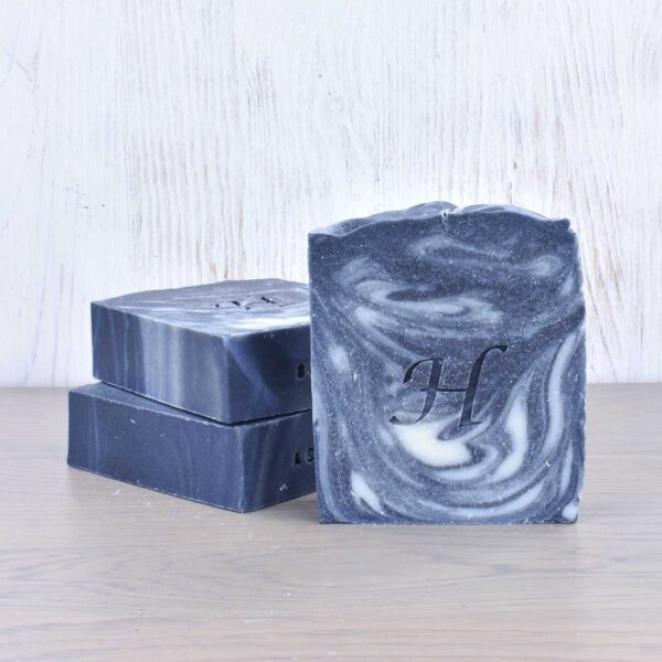Hatton Soap bars, charcoal soap bar , vegan friendly, plastic-free, set of soap bars stacked,