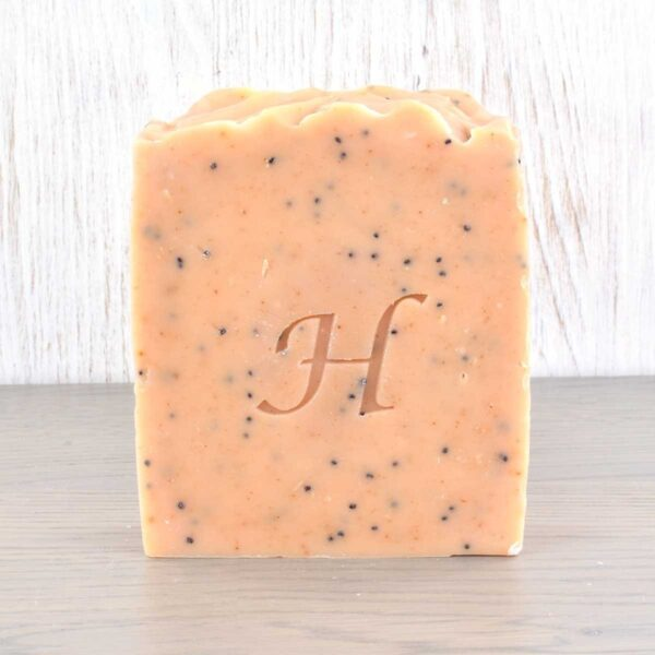 Hatton Handmade Soap bar, orange and poppy seed soap bar, vegan friendly, plastic-free,