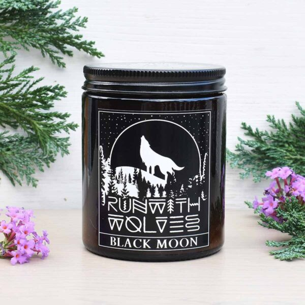 Run With Wolves Black Moon Soy Wax Candle In Jar