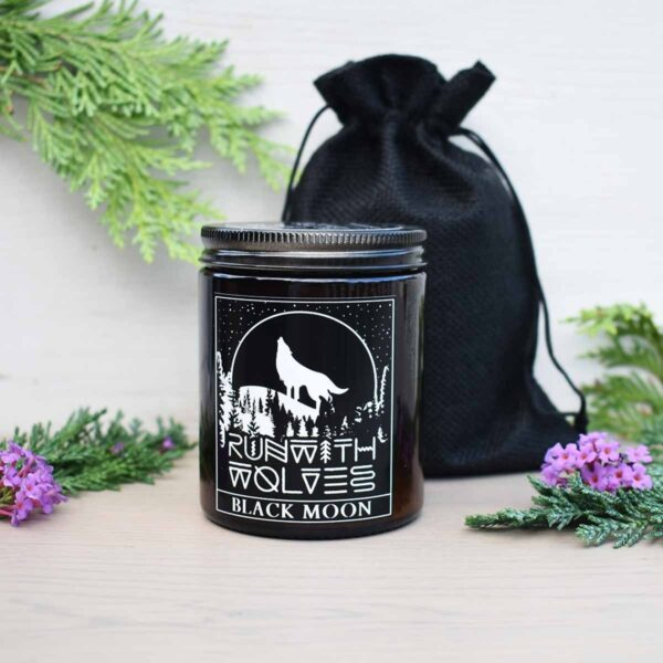 Run With Wolves Black Moon Soy Wax Candle With Bag