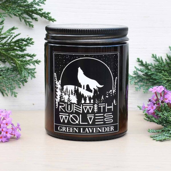 Run With Wolves Green Lavender Soy Wax Candle In Jar