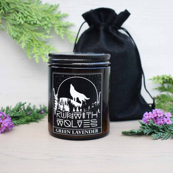Run With Wolves Green Lavender Soy Wax Candle With Bag