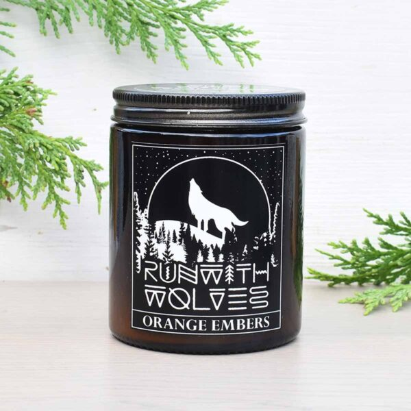 Run With Wolves Orange Embers Soy Wax Candle In Jar
