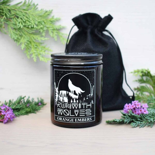 Run With Wolves Orange Embers Soy Wax Candle With Bag