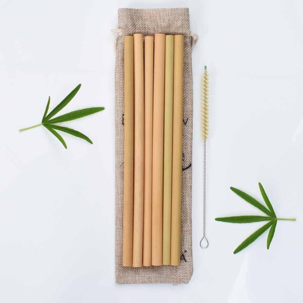 Bunkoza Reusable Bamboo Straws With Travel Bag & Natural Sisal Brush Cleaner