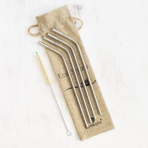 Bunkoza Stainless Steel Straws Angled With Sisal Cleaning Brush & Travel Bag