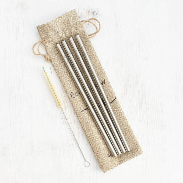 Bunkoza Stainless Steel Straws Smoothie With Sisal Cleaning Brush & Travel Bag