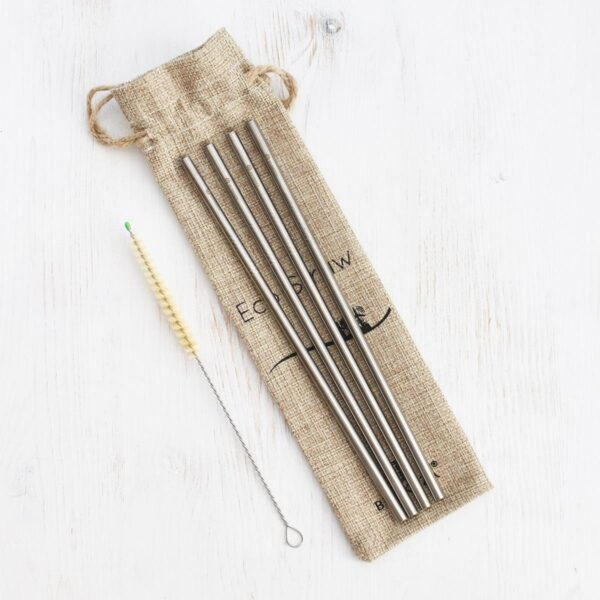 Bunkoza Stainless Steel Straws Straight With Sisal Cleaning Brush & Jute Travel Bag