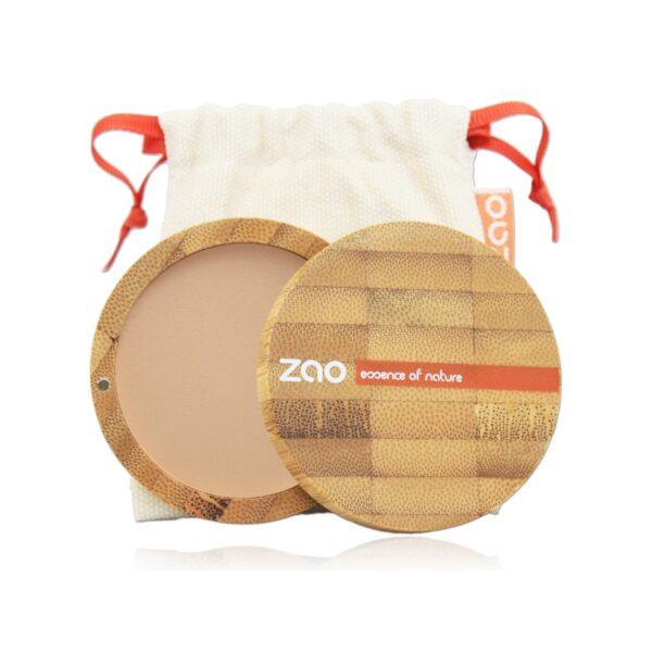 Zao Brown Beige Compact Powder Case And Bag