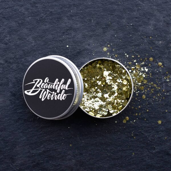 A Beautiful Weirdo Boogie Nights Gold Biodegradable Glitter Tin