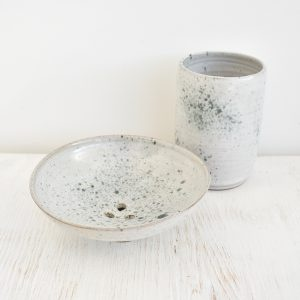 Clod and Pebble Grey Speckle Ceramic Toothbrush Mug & Soap Dish