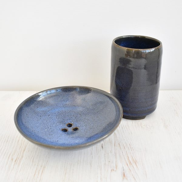 Clod and Pebble Blue Ceramic Toothbrush Mug & Soap Dish