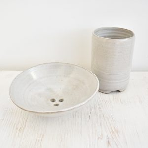 Clod and Pebble Grey Ceramic Toothbrush Mug & Soap Dish