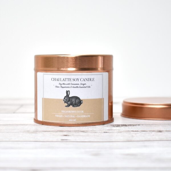 Vegan Bunny Chai Latte Soy Wax Candle Open