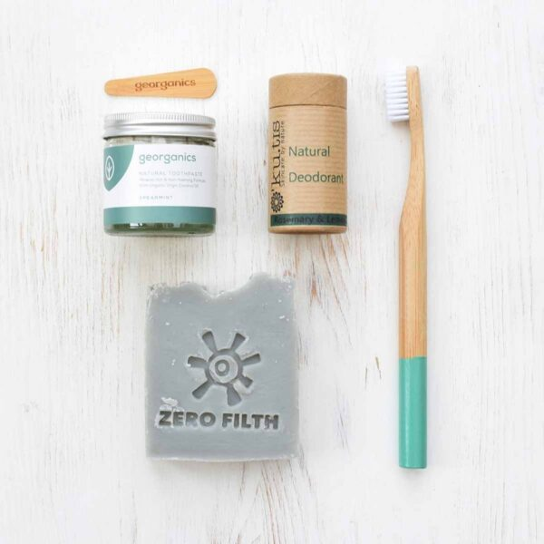 Bare Essentials Kit bamboo toothbrush, coconut oil toothpaste, natural deodorant and the 'Bare Coconuts' vegan soap bar