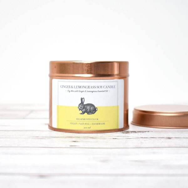 Vegan Bunny Ginger With Lemongrass Soy Wax Candle Open