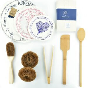 Ultimate Eco-Friendly Kitchen Kit with bamboo kitchen utensils, cotton bowl covers, coconut bristle cleaning brushes and scourers and Dans Le Sac cotton bread bag
