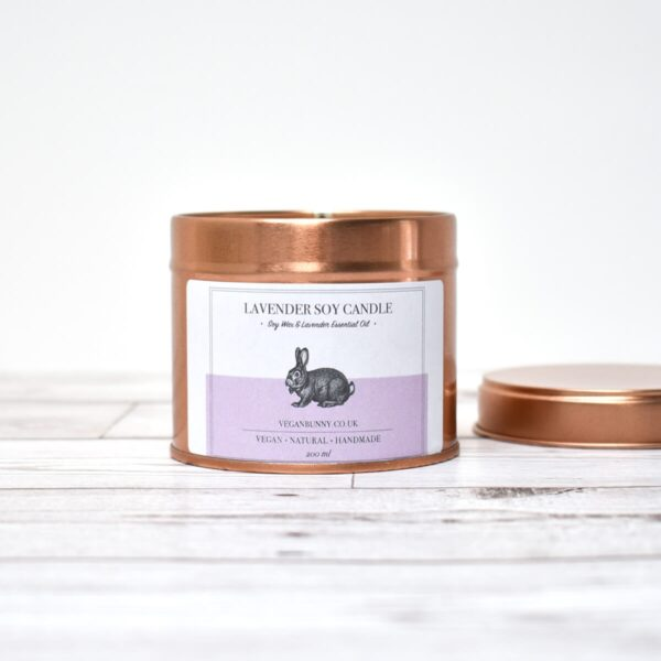 Vegan Bunny Lavender Soy Wax Candle Open