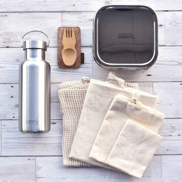 Eco Friendly On-The-Go Kit with lunch box and water bottle, spork and variety of produce bags
