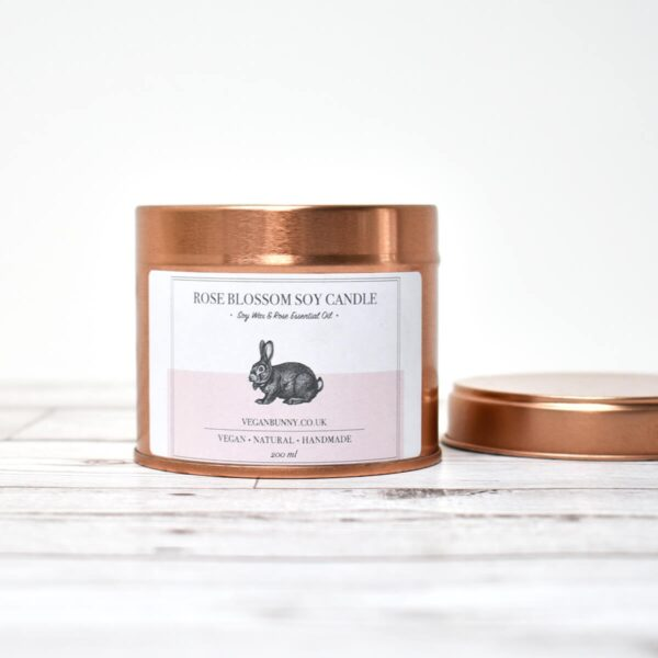 Vegan Bunny Rose Blossom Soy Wax Candle Open