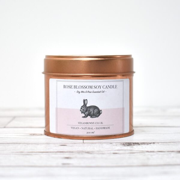 Vegan Bunny Rose Blossom Soy Wax Candle