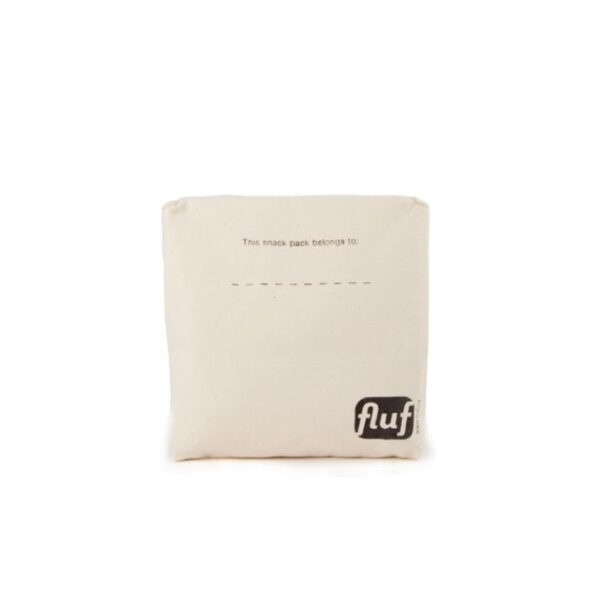 Back of Fluf Cotton Snack Pack with logo and this lunch bag belongs to label