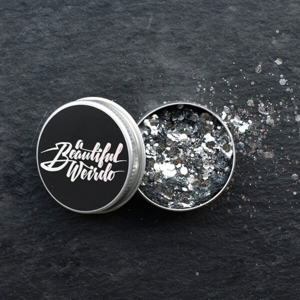 A Beautiful Weirdo Straight Up Silver Biodegradable Glitter Tin