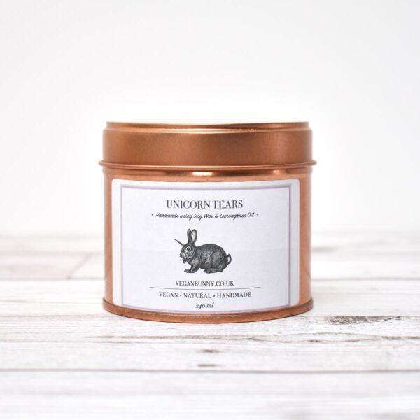 Vegan Bunny Unicorn Tears & Glitter Soy Wax Candle In Tin