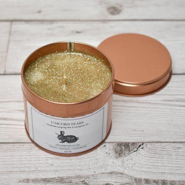 Vegan Bunny Unicorn Tears & Glitter Soy Wax Candle